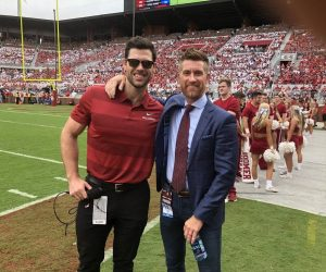 Gabe Ikard of OU Sooners Radio with ESPN's Marty Smith - Photo: tulsaworld.com