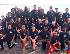 D.T. Shackelford (back row w/ cap) and Tim Hiller (far right 2nd row from back) pose with Okaloosa Walton FCA Leadership Camp attendees